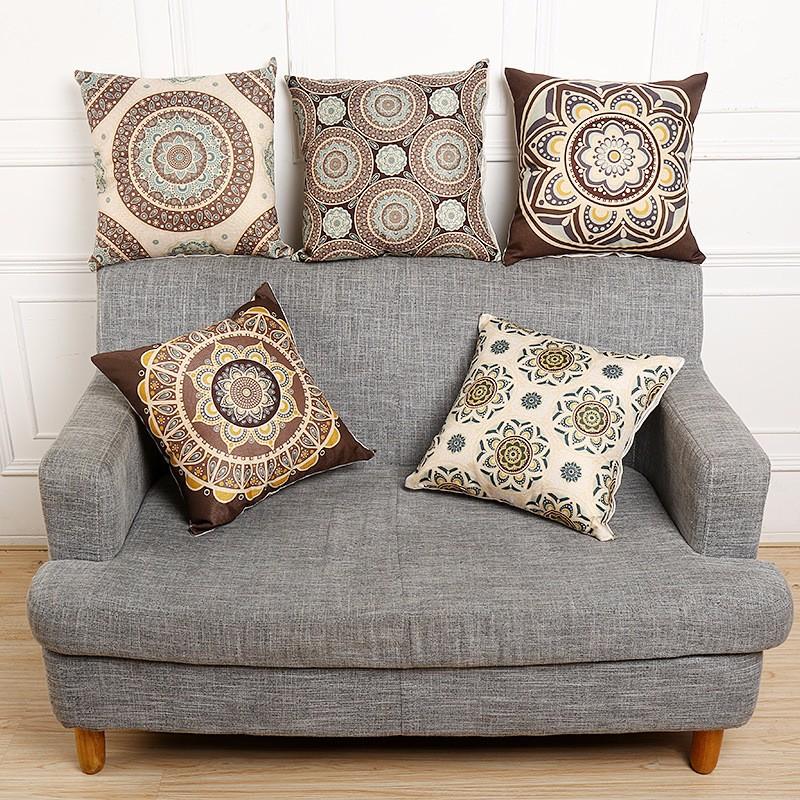 45x45cm Vintage Flower Cotton Linen Throw Pillow Case Waist Cushion Cover Bags Home Sofa Car Decor