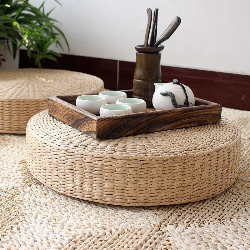 40cm Natural Straw Meditation Yoga Seat Round Tatami