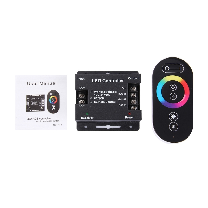SX-030RF RGB Touch Series LED Remote Controller, DC 12-24V (Black)