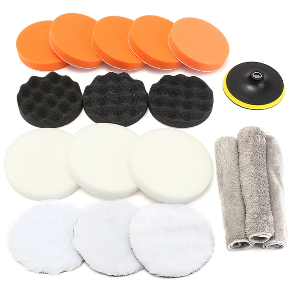 New Fashion 15 Pcs 80mm Buffing Polishing Sponge Pads Kit For Car Polisher Buffer New High Resilience 3inch