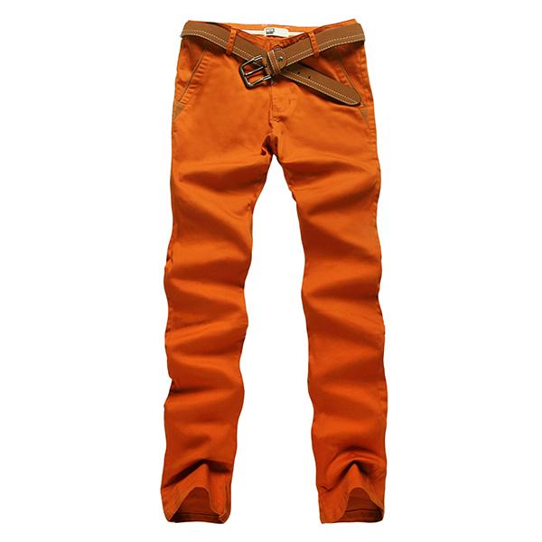 Mens Fashion Elastic Tight Pants Casual Straight Leg Slim Fit Cotton Pants 10 Colors