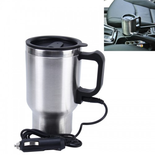 Stainless Steel Electric Smart Mug 12V Car Electric Kettle Heated Mug Car Coffee Cup With Charger Cigarette Lighter Heating Cup Kettle Vacuum Insulated Water Heater Mug