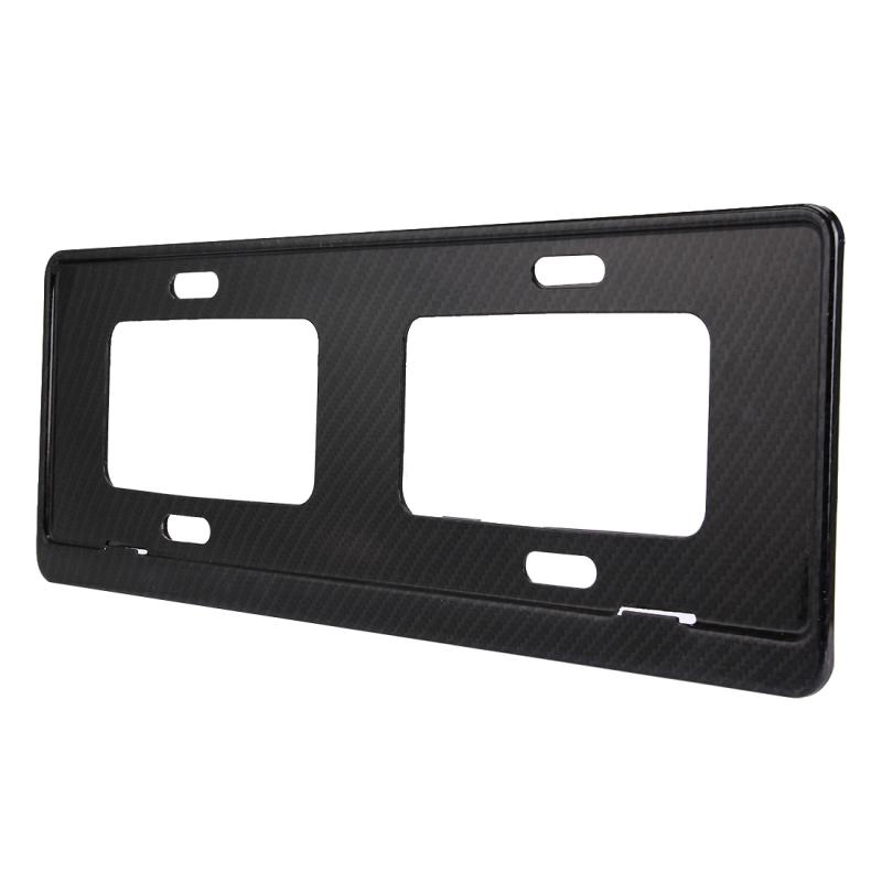 2 PCS Car License Plate Carbon Fiber Bracket Frame Holder Stand