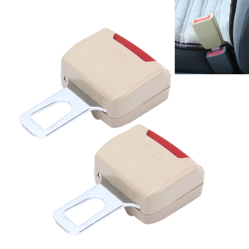 2 PCS RS 01 Universal Car Seat Belt Extension Buckle Khaki