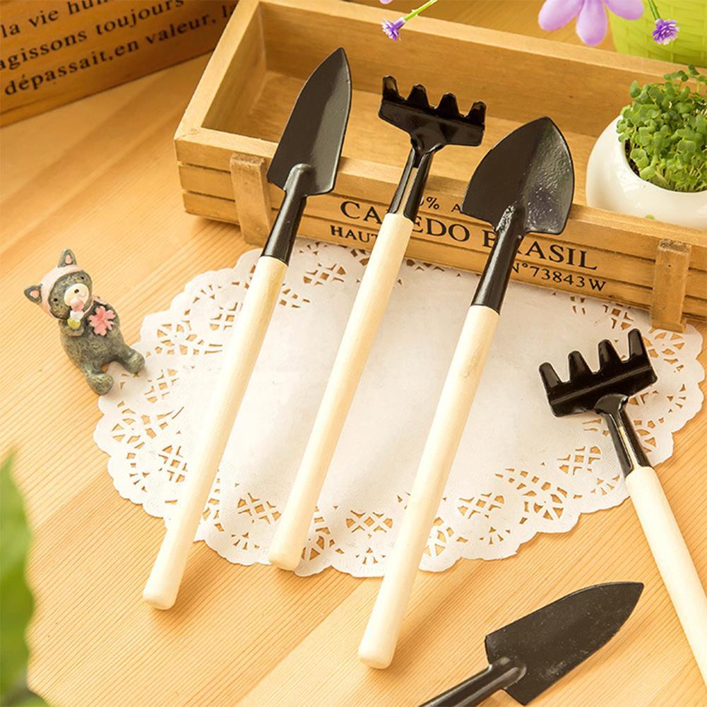 3pcs Mini Garden Hand Tools Set Gardening Shovel Spade Rake Trowel