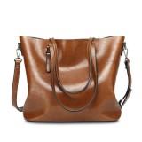 Women Oil Leather Tote Handbags Vintage Shoulder Bags Capacity Big Shopping Tote Crossbody Bags