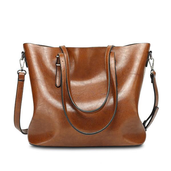 Women Oil Leather Tote Handbags Vintage Shoulder Bags ...
