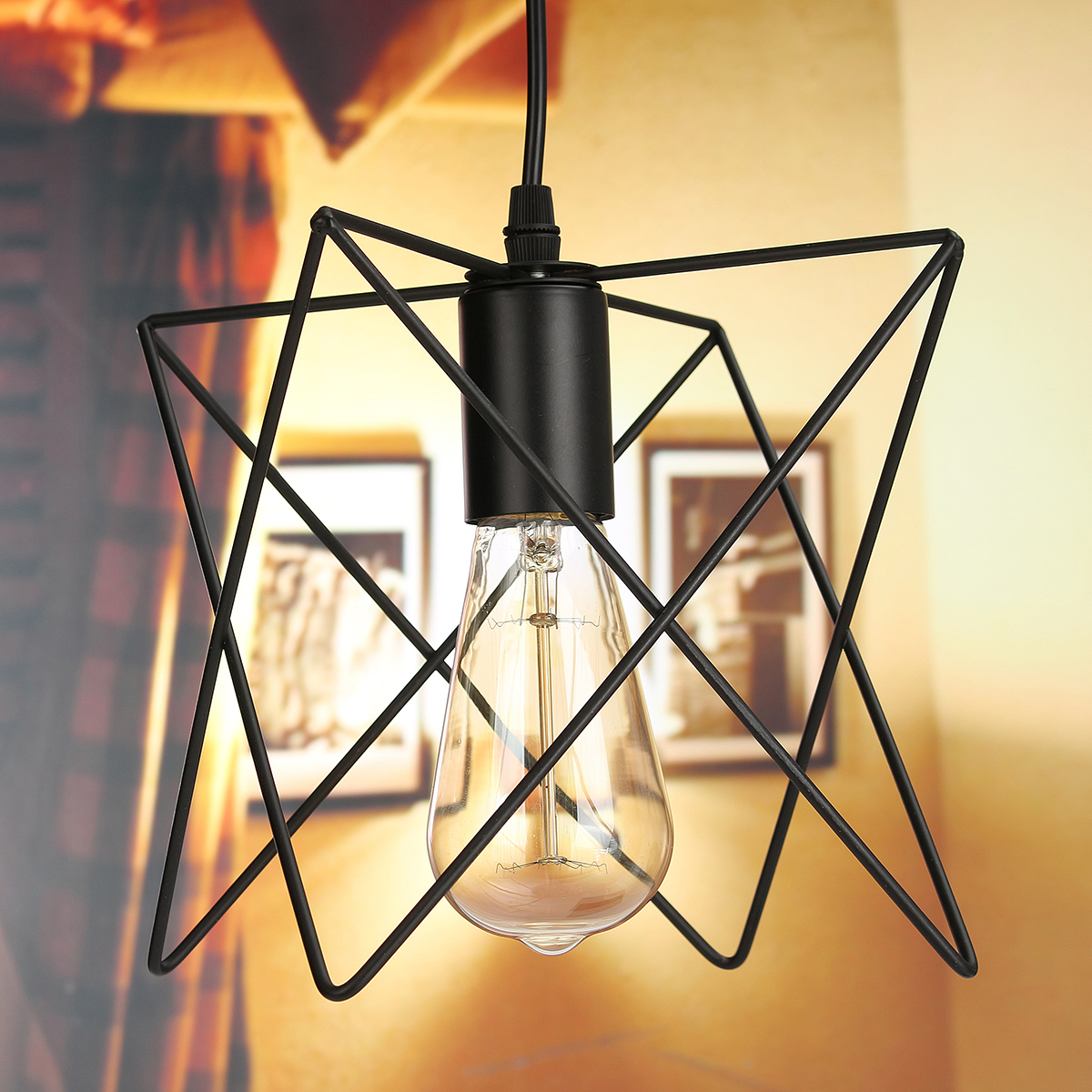 3 Bulb Ceiling Light: 3 In 1 Metal Vintage Ceiling Light Pendant Lamp Cage