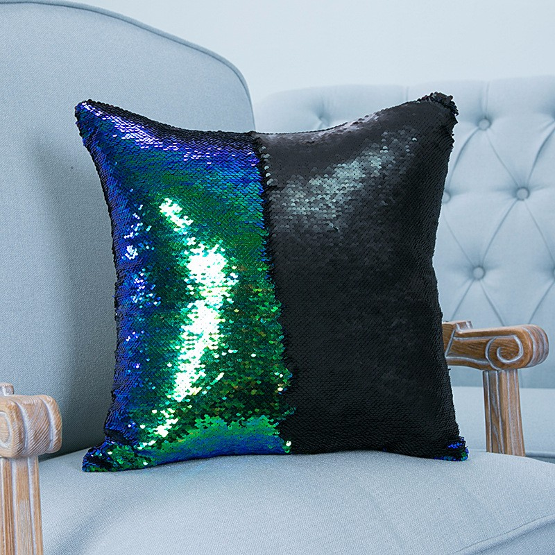 reversible sequin mermaid pillowcase magical color changing pillow cushion cover home car decor. Black Bedroom Furniture Sets. Home Design Ideas