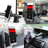Multifunctional Car Air Vent Front Glass Instrument Desk Sucker Phone Holder for Phone 3-6.5 inches