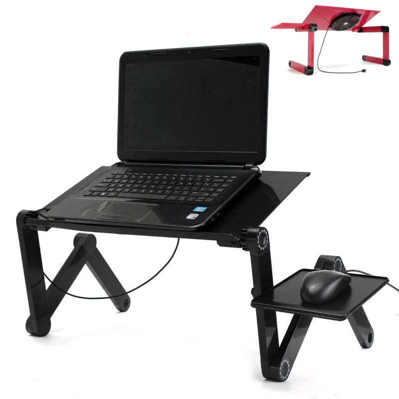 Portable adjustable foldable laptop notebook pc desk table vented stand bed tray alex nld - Futon portatil ...
