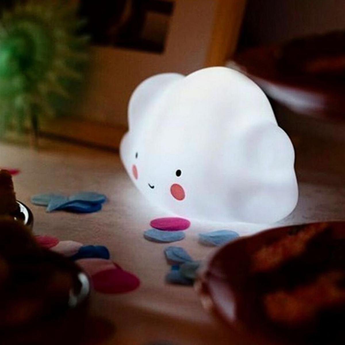 Kids Bedroom Lamp Battery Powered Mini Cloud Smile Face Led Night Light Children