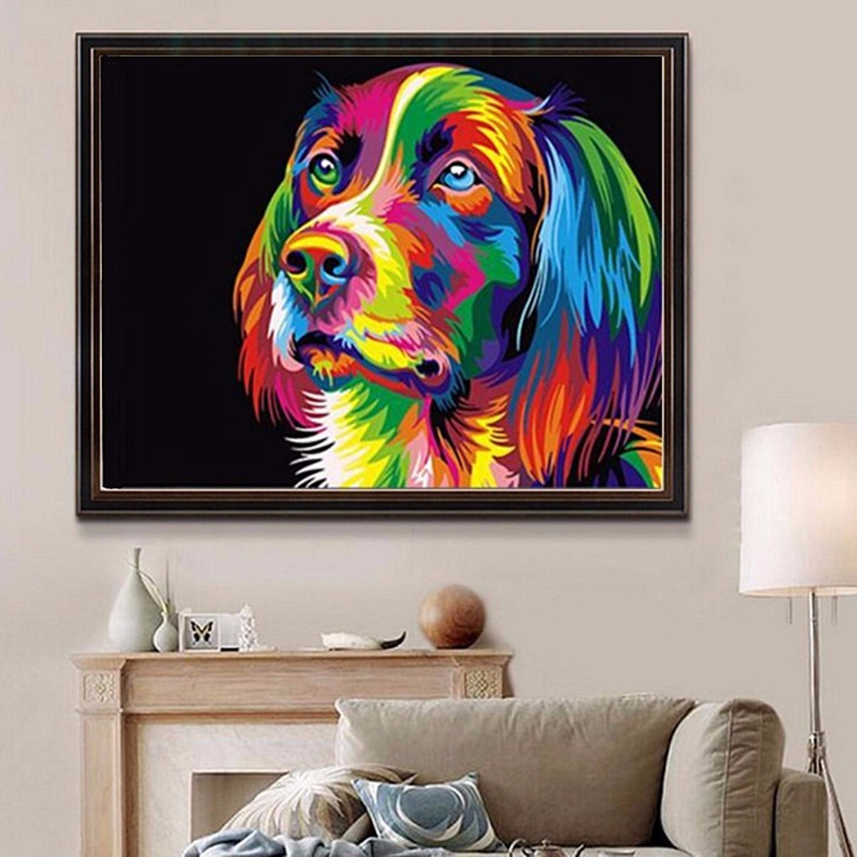 50x40cm colorful puppy dog little animal pet diy self for Diy colorful wall art