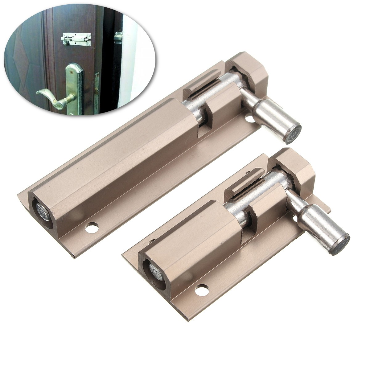 1200 #7E614D Door Bolt Slide Security Lock Zinc Alloy For Home Guard Gate Drawer  wallpaper Home Security Doors And Locks 7251200
