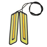 Pair U Shape 800LM White & Yellow COB LED DRL Daytime Running Fog Turn Signal Light