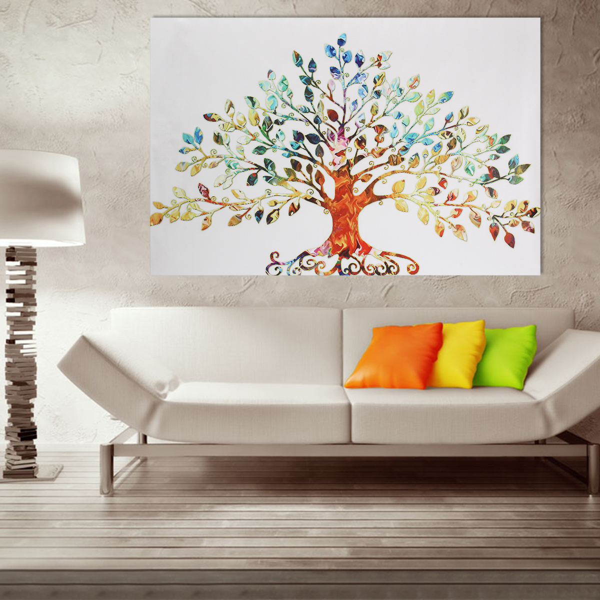 75x50cm Picture Abstract Colorful Leafy Tree Unframed Canvas Print Wall Art Home Decoration Alexnld Com
