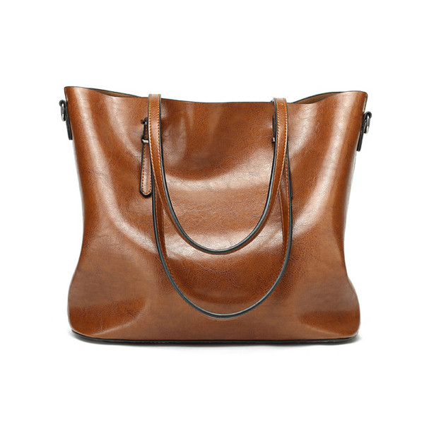 Women Oil Leather Tote Handbags Vintage Shoulder Bags Capacity Big Shopping Tote Crossbody Bags