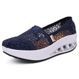 Hollow Out Lace Rocker Sole Slip On Casual Round Toe Health Shoes