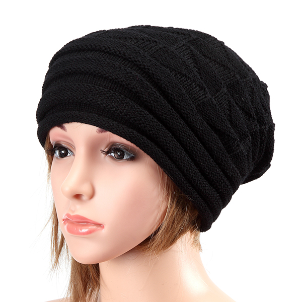 896b886f4336b Unisex Knitted Crochet Stripe Beanie Hat Knitting Foldable Elastic Baggy Cap  For Men Women