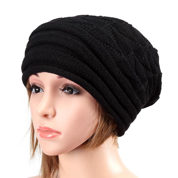 Unisex Knitted Crochet Stripe Beanie Hat Knitting Foldable Elastic Baggy Cap ...