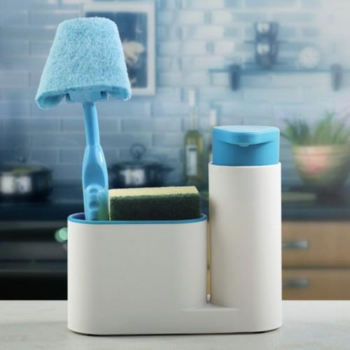 Multifunctional Bathroom Kitchen Sink Tidy Organzier Cosmetics Storage Box + 450ml Liquid Soap Dispenser Hand Wash Body Wash Lotion Shampoo Bottle (Blue)