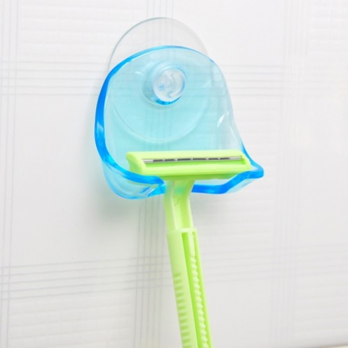 Bathroom Storage Tools Suction Cup Shaving Razor Rack Holder Storage Shaver Rack Wall Hook Hangers Sucker (Clear Blue)