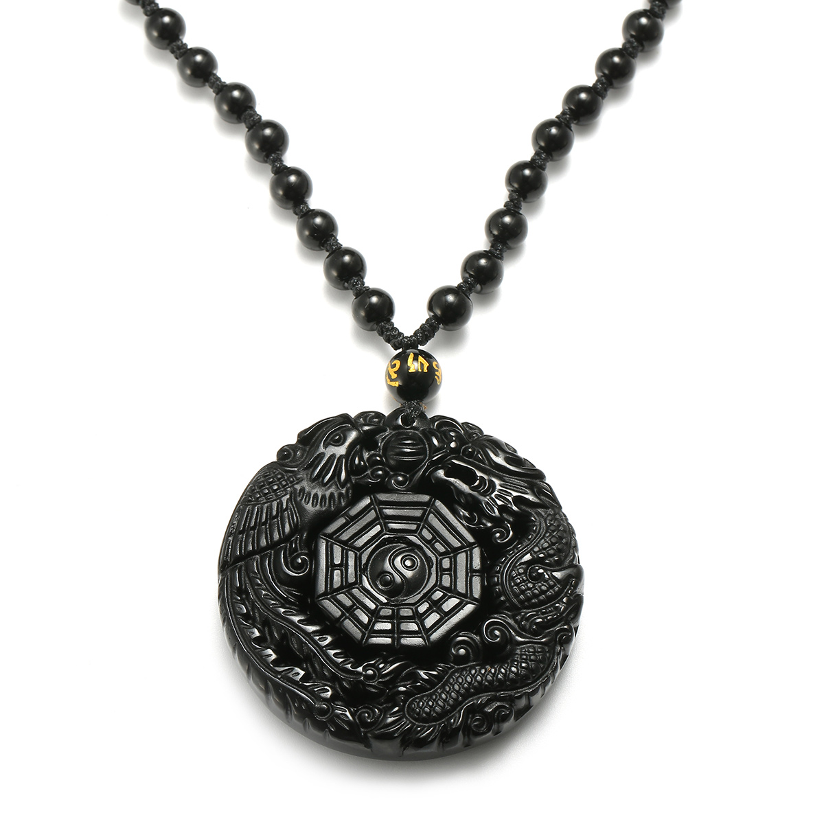 4cd938d8c6ca6 Black Obsidian Lucky Pendant Tai-Chi Necklace Chain For Men Women Gift
