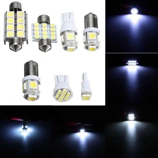 7pcs 12v White Car Interior Led Reading Light Kit Dome Licence Plate Side Mark Lamp
