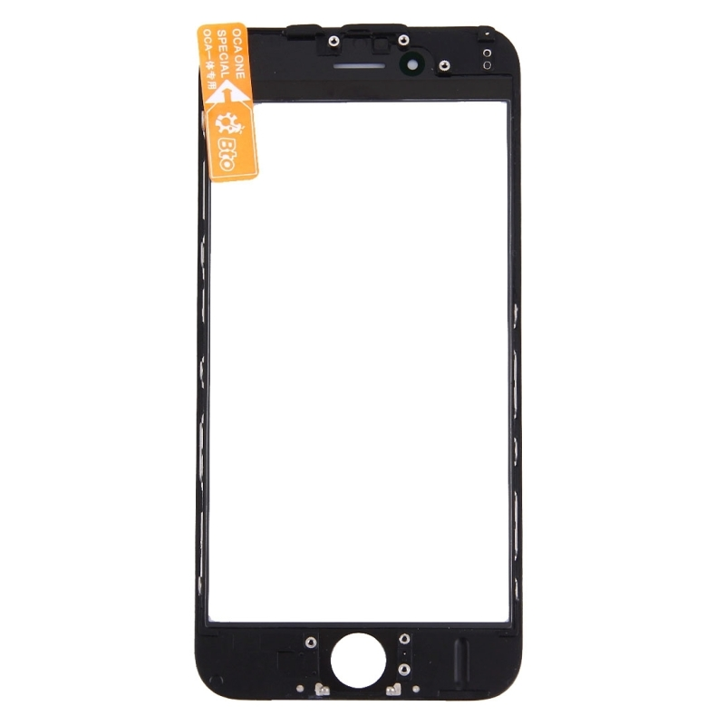 Replacement for iPhone 6 Front Screen Outer Glass Lens with Front LCD Screen Bezel Frame & OCA Optically Clear Adhesive (Black)