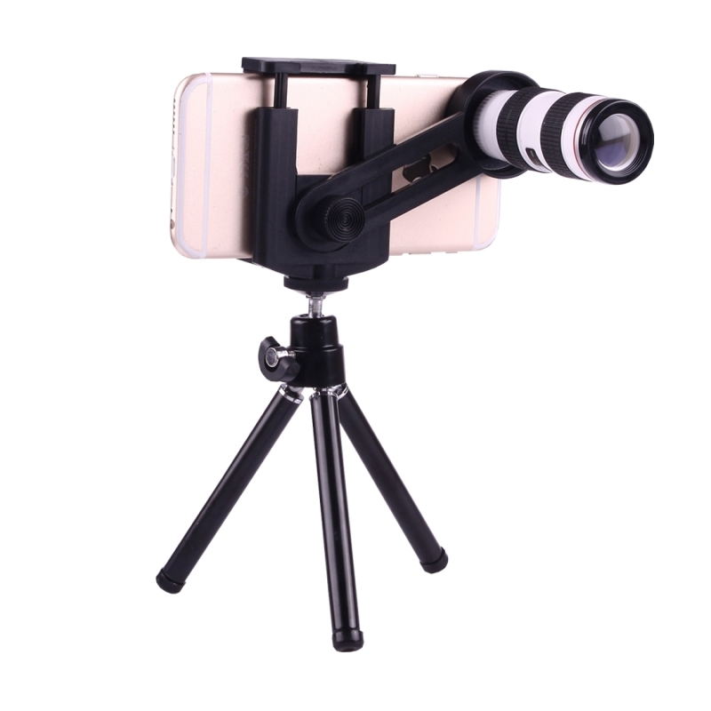 iphone tripod mount 12x magnification lens mobile phone 3 in 1 telescope 2491