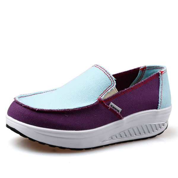 Women Sport Running Rocker Sole Shoes Casual Outdoor Slip On Flats
