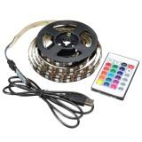 USB 5V 5050 60SMD/M RGB LED Strip Light TV Back Lighting Kit +24Key Remote