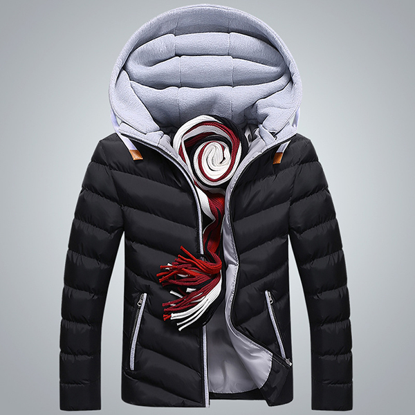 Mens Winter Thick Hooded Stitching Jacket Fashion Casual Padded Warm Zipper Pockets Coat
