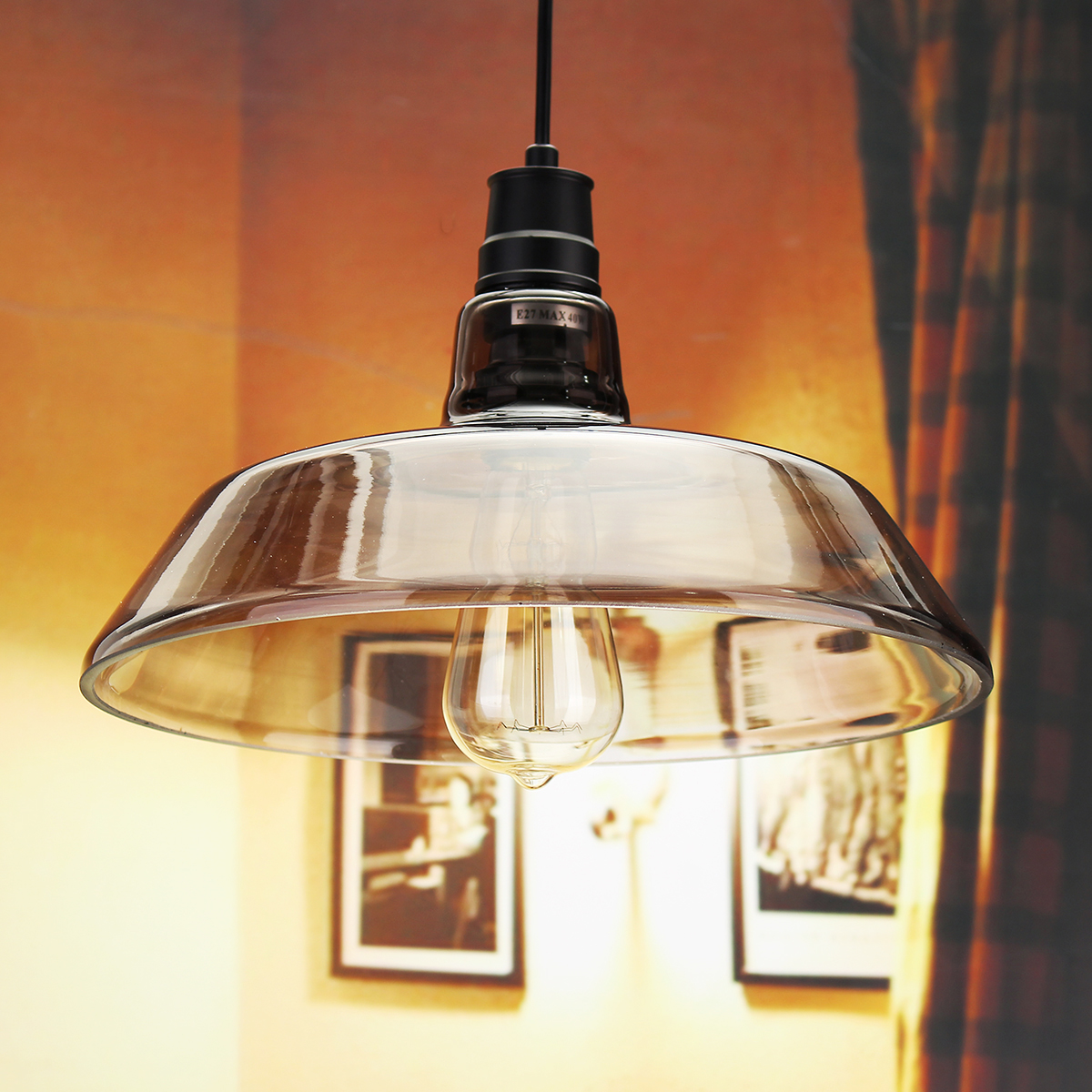 Ceiling lights edison : Industrial retro vintage pipe glass edison bulb pendent