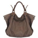 Women Durable Canvas Genuine Leather Hobos Bag Handbag Shoulder Bag Crossbody Bag