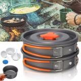 8Pcs Camping Aluminum Pot Bowl Portable Outdoor Picnic Cooking Pan Set Cookware