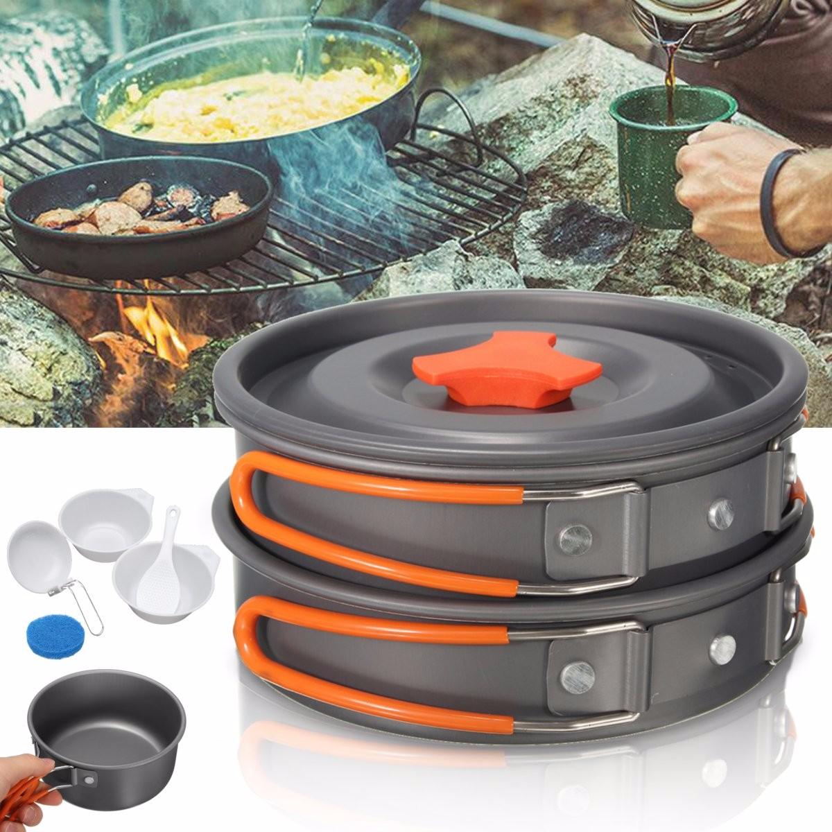 8pcs camping aluminum pot bowl portable outdoor picnic for Aluminum cuisine