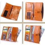 """Women Oil Genuine Leather Luxury Long Wallet Hasp Purse Card Holder Coin Bags 5.5"""" Phone Bags"""