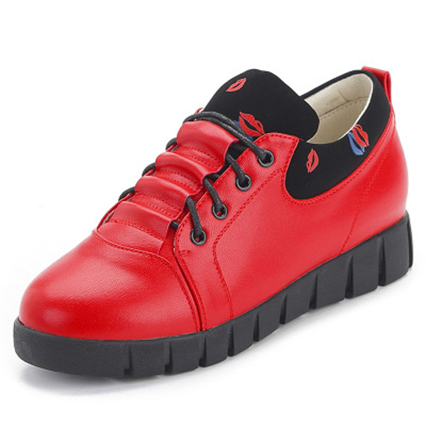 Pure Color Soft Sole Lace Up Casual Round Toe Running Shoes