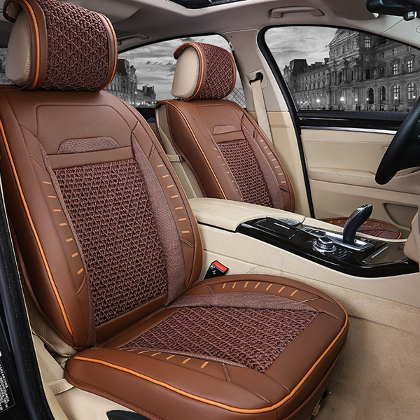 Groovy Pu Leather Car Seat Cover Full Surround Bamboo Charcoal Cushion Set For 5 Seat Car Squirreltailoven Fun Painted Chair Ideas Images Squirreltailovenorg