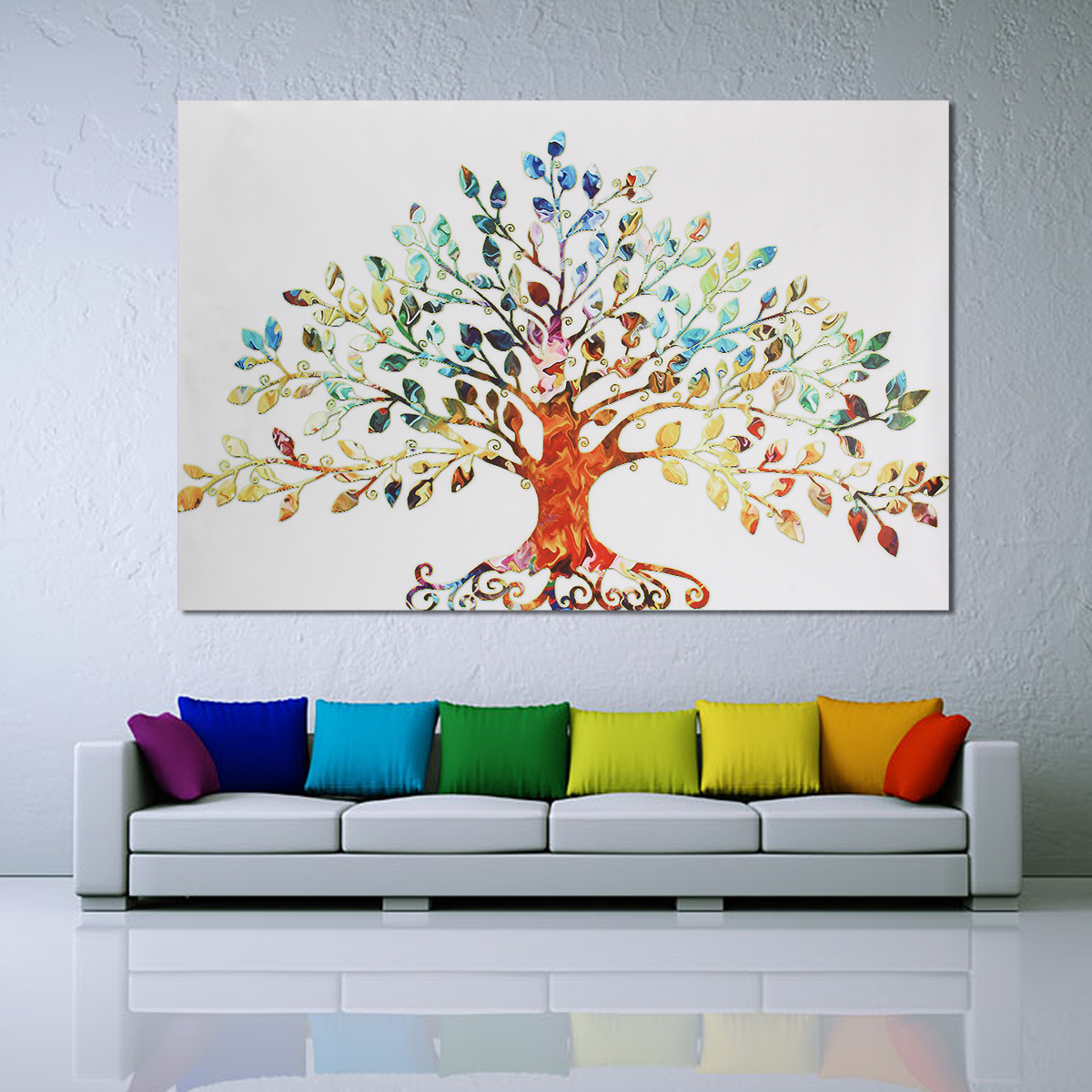 75x50cm picture abstract colorful leafy tree unframed for Paintings for house decoration
