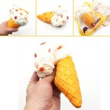 Giggle Bread Ice Cream Cone Squishy 19*10cm Original Packaging Slow Rising Collection Decor Toy
