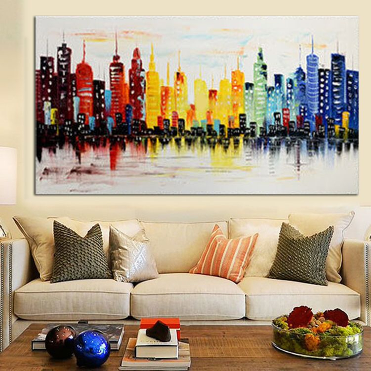 120x60cm modern city canvas abstract painting print living room art wall decor no frame. Black Bedroom Furniture Sets. Home Design Ideas