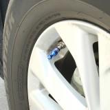 4 PCS Universal Bowling Ball Shape Car Motor Bicycle Tire Valve Caps (Blue)