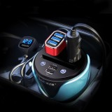 HSC HSC-200D Car Cup Charger 2.1A/1A Dual USB Ports Car 12V-24V Charger with 2-Socket Cigarette, Card Socket and LED Display