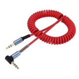 3.5mm 3-pole Male to Male Plug Audio AUX Retractable Coiled Cable, Length: 1.5m (Red)