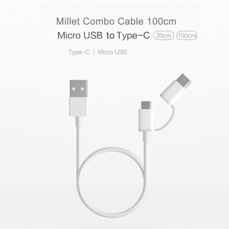 Original Xiaomi 1m 2.4A Type-C + Micro USB 2.0 to USB TPE Data Sync Charging Cable with Metal Head for Xiaomi, Huawei, MacBook, Samsung, Nokia, Google, HTC, Lenovo, Meizu, Letv, OnePlus (White)