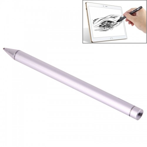 Universal Rechargeable Capacitive Touch Screen Stylus Pen with 2.3mm Superfine Metal Nib for iPhone, iPad, Samsung, and Other Capacitive Touch Screen Smartphones or Tablet PC (Silver)