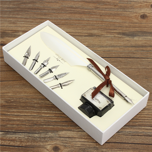 Retro Goose Feather Quill Pen Metal Nib Dip Writing Black Ink Set Collectable