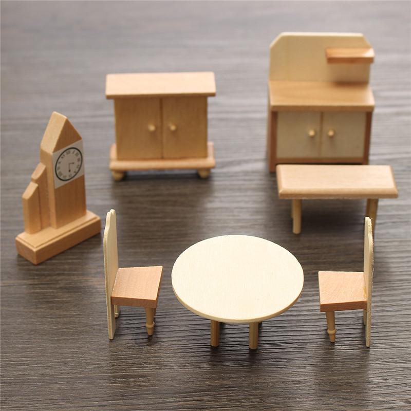 New 29 Pcs 1 24 Scale Dollhouse Miniature Unpainted Wooden Furniture Model Suite Alex Nld